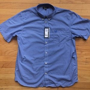 NEW Fred Perry Short Sleeve Gingham Shirt Blue XL